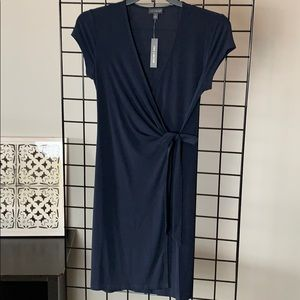 NWT THE LIMITED Navy Blue Wrap Dress Cap Slv, S
